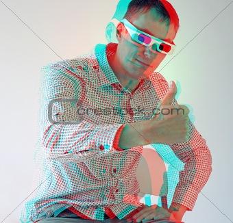 men in stereo  glasses