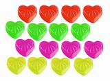 colored marmalade candy heart isolated on white