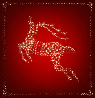 Christmas card with star deer. Vector illustration