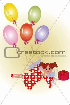Fairy with gift and balloon.