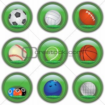 Green sport buttons