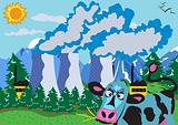 Nuclear powerplant and cow