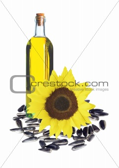 sunflowers seeds and glass bottle oil isolated on white