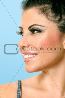 Beautiful woman face looking sideways