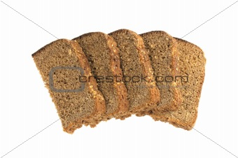 Slices of rye bread isolated on white