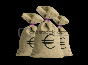 Money bags over black background