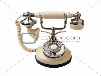 Old fashioned phone isolated on white