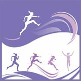 Female runner silhouettes