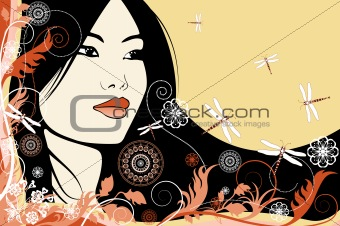 Asian girl on a floral background