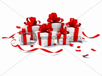 Presents with red ribbons