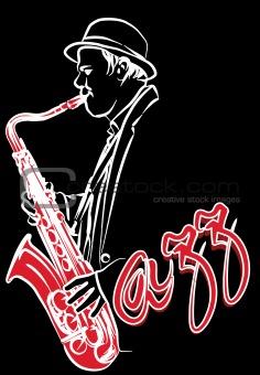 saxophonist on a black background