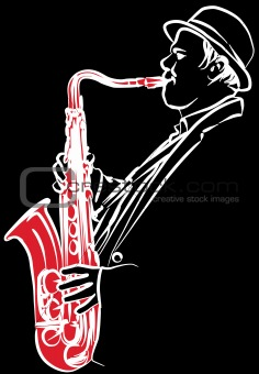 saxophonist on a black background