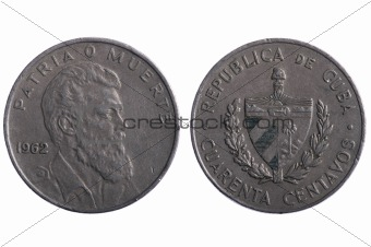 Cuba coins on white