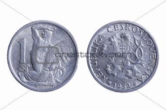 Czechoslovakia coins on white