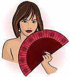 young asian woman with a fan