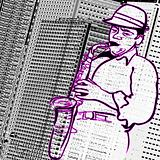 saxophonist on a city buildings background