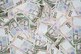 Heap of ukrainian money. 500 uah front.