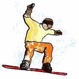 snowboarder in dry chalk charcoal pencil and watercolor technique