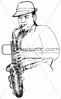 saxophonist on a white background