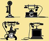 set of old telephones