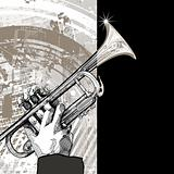 trumpet on grunge background