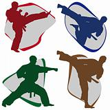 Set Martial ARTS Symbol. KARATE style. Japan, Korea, Okinawa.
