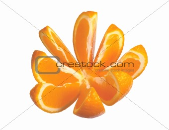 Slices of orange isolated on white
