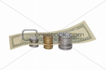 dollar with coins isolated on white