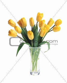 beautiful bouquet of yellow tulips in vase isolated on white