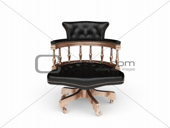 isolated classic leather chair