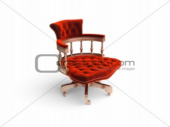isolated classic velvet chair