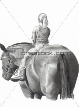 Freehand Pencil Drawing of Girl on Horse