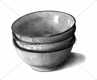 Freehand Pencil Drawing of Three Bowls