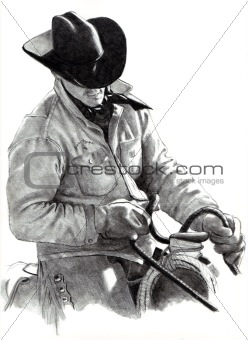 Freehand Pencil Drawing of Cowboy on Horse