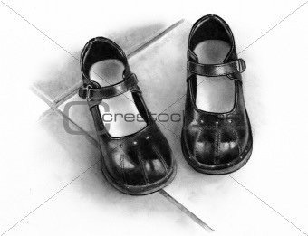 Freehand Pencil Drawing of Small Shoes