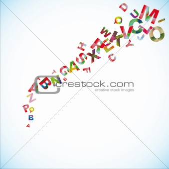 Abstract vector background with colored letters