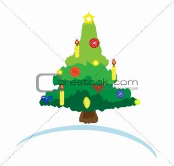 Bright christmas tree card. Vector illustration