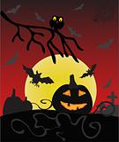 Dark Halloween card with bat and pumpkin