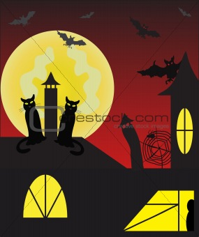black cats on the roof and bats against moon