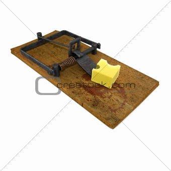 3d render of a mouse trap with cheese