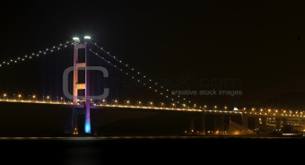 Ting Kau Bridge and Tsing ma Bridge at night, in Hong Kong