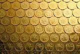 gold coins , money background, of Hong Kong currency $0.5 coins