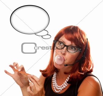 Red Haired Retro Receptionist with Blank Thought Bubble Chewing Gum Isolated on a White Background.