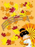 vector japanese geisha on autumn background