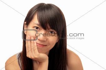smile chinese girl isolated on white background