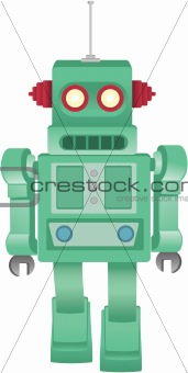 Retro Walking Green Toy Robot