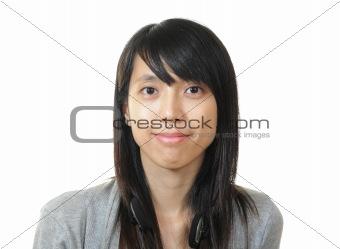 smile chinese girl on white background