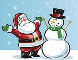 Santa &amp; snowman in snowfall