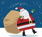 Santa carrying toy bag