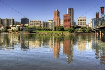 Portland Oregon Downtown Skyline Reflection